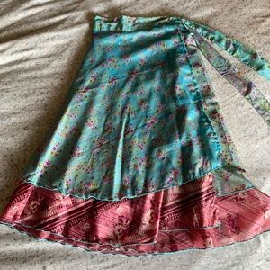 Size 24 upcycled sari wrap skirt by Darn Good Yarn